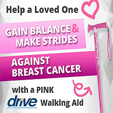 Making Strides Pink Ribbon travel cane