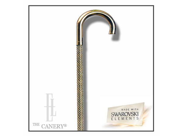 Swarovski encrusted Brass Crook cane