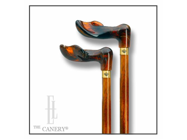 Palm d'Or Amber and Scorched-Cherry Palm Grip Cane
