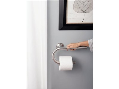 Bathroom Grab Bars Designer moen home care designer grab bar with integrated toilet paper
