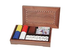 5-in-1 Combination Game Set with walnut case