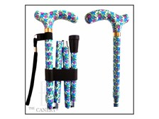 the Ramblin' Blue Rose adjustable folding travel cane