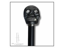 Black Skull head walking Stick with Crystals