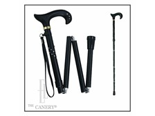 Black Swarovski Folding Derby Cane. Adjustable.
