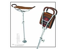 Leather Saddle Seat Stick with Sporting Red Tartan