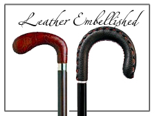 Leather accented walking canes