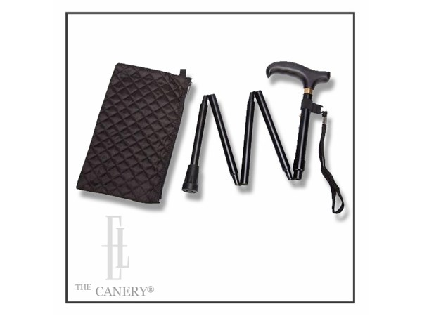 Ladies Simple Black Travel Cane