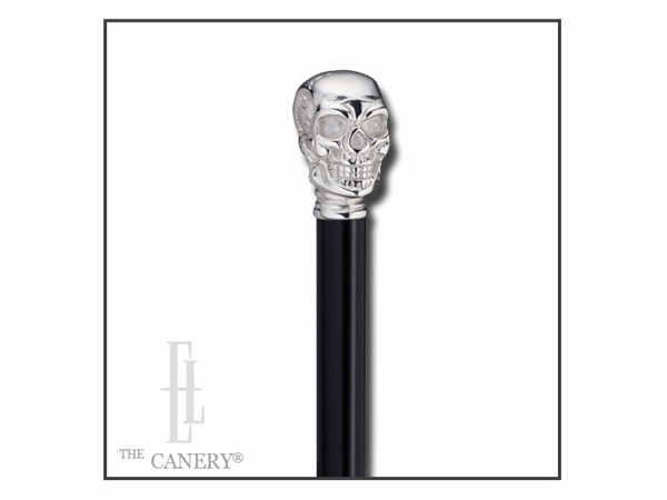 chromed skull head figurine cane