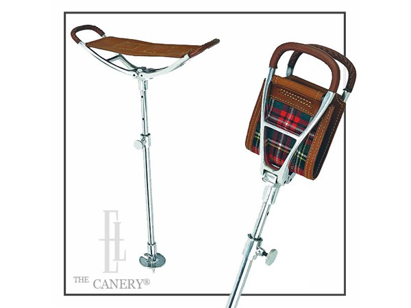 Tartan & Leather Saddle Seat Stick