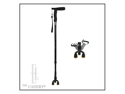 All Terrain Four Tip Adjustable Walking Cane with Reflector