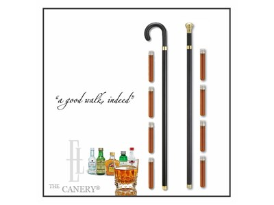 Flask cane in Crook or Knob Handle style