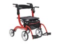Nitro Duet Dual Function Transport Wheelchair and Rollator Rolling Walker, Red