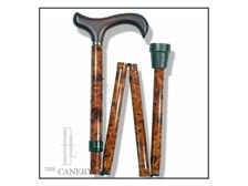 Burled Wood effect folding travel cane