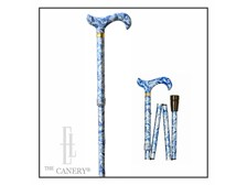 Blue Paisley and Butterflies Adjustable Cane