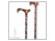 Tea Party red floral adjustable cane