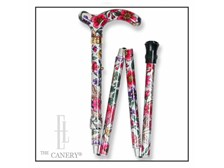 Adjustable folding travel cane with violet and pink pattern